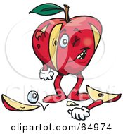 Royalty Free RF Clipart Illustration Of A Red Apple Man With Chunks Cut Out