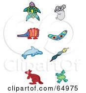 Digital Collage Of Aboriginal Styled Animals Turtle Koala Enchidna Boomerang Dolphin Snake Kangaroo And Frog