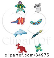 Royalty Free RF Clipart Illustration Of A Digital Collage Of Aboriginal Styled Animals Turtle Koala Enchidna Boomerang Dolphin Snake Kangaroo And Frog