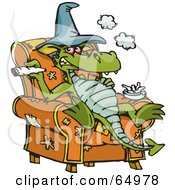 Royalty Free RF Clipart Illustration Of A Dragon Sitting In A Chair And Smoking Dope by Dennis Holmes Designs