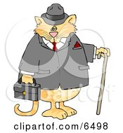 Gentlemanly Cat In A Jacket And Hat Holding A Cane And Briefcase Clipart