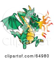 Royalty Free RF Clipart Illustration Of A Flying Green Fire Breathing Dragon by Dennis Holmes Designs