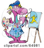 Royalty Free RF Clipart Illustration Of A Purple Artist Painting A Man On An Easel by Dennis Holmes Designs