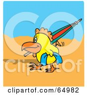 Royalty Free RF Clipart Illustration Of A Happy Chicken Strolling On A Beach