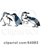 Row Of Four Blue And White Penguins