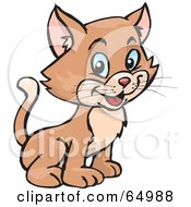 Royalty Free RF Clipart Illustration Of A Cute And Happy Baby Kitty Cat Sitting