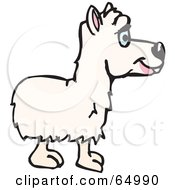 Royalty Free RF Clipart Illustration Of A White Alpaca Facing Right by Dennis Holmes Designs
