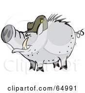 Gray Pig Wearing A Hat