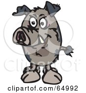 Royalty Free RF Clipart Illustration Of A Wild Pig Facing Front by Dennis Holmes Designs