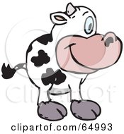 Royalty Free RF Clipart Illustration Of A Friendly Dairy Cow Facing Right