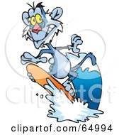 Royalty Free RF Clipart Illustration Of A Blue Surfing Baboon by Dennis Holmes Designs