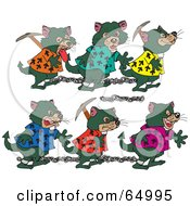 Royalty Free RF Clipart Illustration Of Chain Gangs Of Tasmanian Devils In Shackles by Dennis Holmes Designs