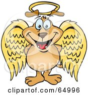 Royalty Free RF Clipart Illustration Of An Innocent Sparkey Dog Angel Character by Dennis Holmes Designs