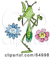 Royalty Free RF Clipart Illustration Of A Praying Mantis In A Flower Garden Playing Music With His Legs