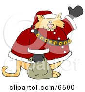 Chubby Orange Santa Clause Cat Waving Clipart by Dennis Cox