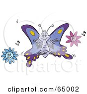 Royalty Free RF Clipart Illustration Of A Meditating Butterfly Over Flowers With Music Notes