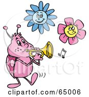 Royalty Free RF Clipart Illustration Of A Ladybug Tooting A Horn Under Flowers