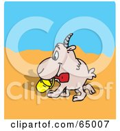 Royalty Free RF Clipart Illustration Of A Happy Goat Strolling On A Beach by Dennis Holmes Designs