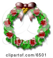Christmas Wreath With Holly Bells A Bow And Santas Clipart