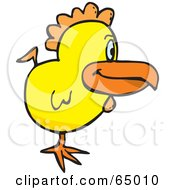 Royalty Free RF Clipart Illustration Of A Profiled Yellow Farm Chicken