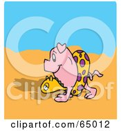 Royalty Free RF Clipart Illustration Of A Happy Pig Strolling On A Beach
