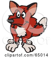 Royalty Free RF Clipart Illustration Of A Shaggy Wild Fox Facing Front by Dennis Holmes Designs