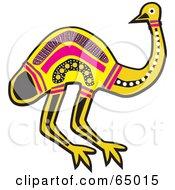 Aboriginal Yellow And Pink Emu