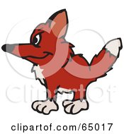 Royalty Free RF Clipart Illustration Of A Shaggy Wild Fox Facing Left by Dennis Holmes Designs