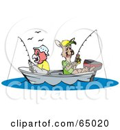Royalty Free RF Clipart Illustration Of A Parrot And Kangaroo Fishing In A Boat
