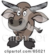 Royalty Free RF Clipart Illustration Of A Wild Bull Facing Front