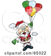 Royalty Free RF Clipart Illustration Of Santa Claus Floating Away With Balloons by Dennis Holmes Designs