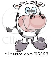 Royalty Free RF Clipart Illustration Of A Friendly Dairy Cow Facing Front by Dennis Holmes Designs