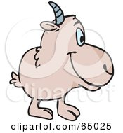 Royalty Free RF Clipart Illustration Of A Beige Goat Facing Right by Dennis Holmes Designs