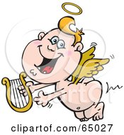 Royalty Free RF Clipart Illustration Of A Happy Blond Angel Guy Flying With A Lyre by Dennis Holmes Designs