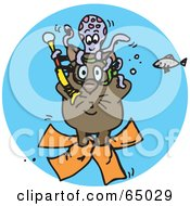 Royalty Free RF Clipart Illustration Of A Diving Wombat Underwater With An Octopus And Fish