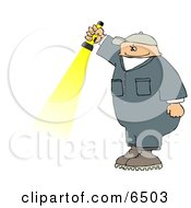 Man In A Jumpsuit Holding A Flashlight Clipart