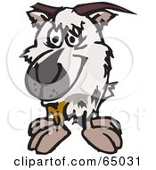 Royalty Free RF Clipart Illustration Of A Shaggy White Goat Facing Front by Dennis Holmes Designs