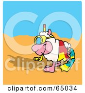 Royalty Free RF Clipart Illustration Of A Happy Sheep Strolling On A Beach