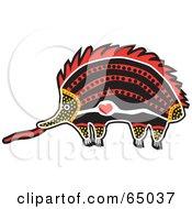 Red Orange And Black Aboriginal Art Styled Echidna