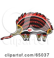 Royalty Free RF Clipart Illustration Of A Red Orange And Black Aboriginal Art Styled Echidna