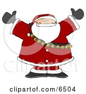 Santa Claus In Full Uniform And Bells With His Arms Up Clipart