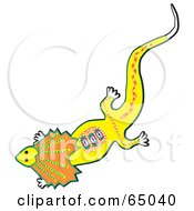 Royalty Free RF Clipart Illustration Of An Aboriginal Styled Frilled Lizard by Dennis Holmes Designs