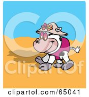 Royalty Free RF Clipart Illustration Of A Happy Cow Strolling On A Beach