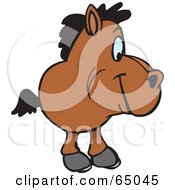 Royalty Free RF Clipart Illustration Of A Brown Horse Facing Right