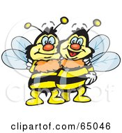 Royalty Free RF Clipart Illustration Of A Pair Of Happy Embracing Bees by Dennis Holmes Designs
