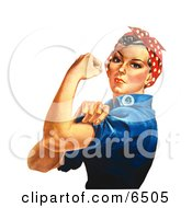 Rosie The Riveter Isolated On White Facing Left
