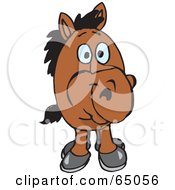 Royalty Free RF Clipart Illustration Of A Brown Horse Facing Front