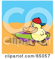 Royalty Free RF Clipart Illustration Of A Happy Duck Carrying A Surf Board On A Beach by Dennis Holmes Designs