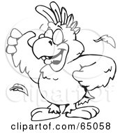 Royalty Free RF Clipart Illustration Of A Black And White Cockatoo Outline