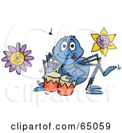 Royalty Free RF Clipart Illustration Of A Drummer Spider In A Flower Garden by Dennis Holmes Designs